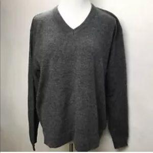 Anthropolgie Gray 100% Lambs Wool V Neck Sweater